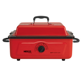 Nesco 5-Quart Red Rectangle Porcelain Roaster Oven With M...