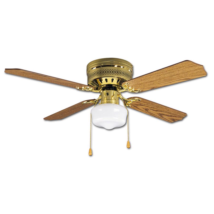 Shop Litex Celeste Hugger 42 In Polished Brass Flush Mount Ceiling Fan With Light Kit At Lowes Com