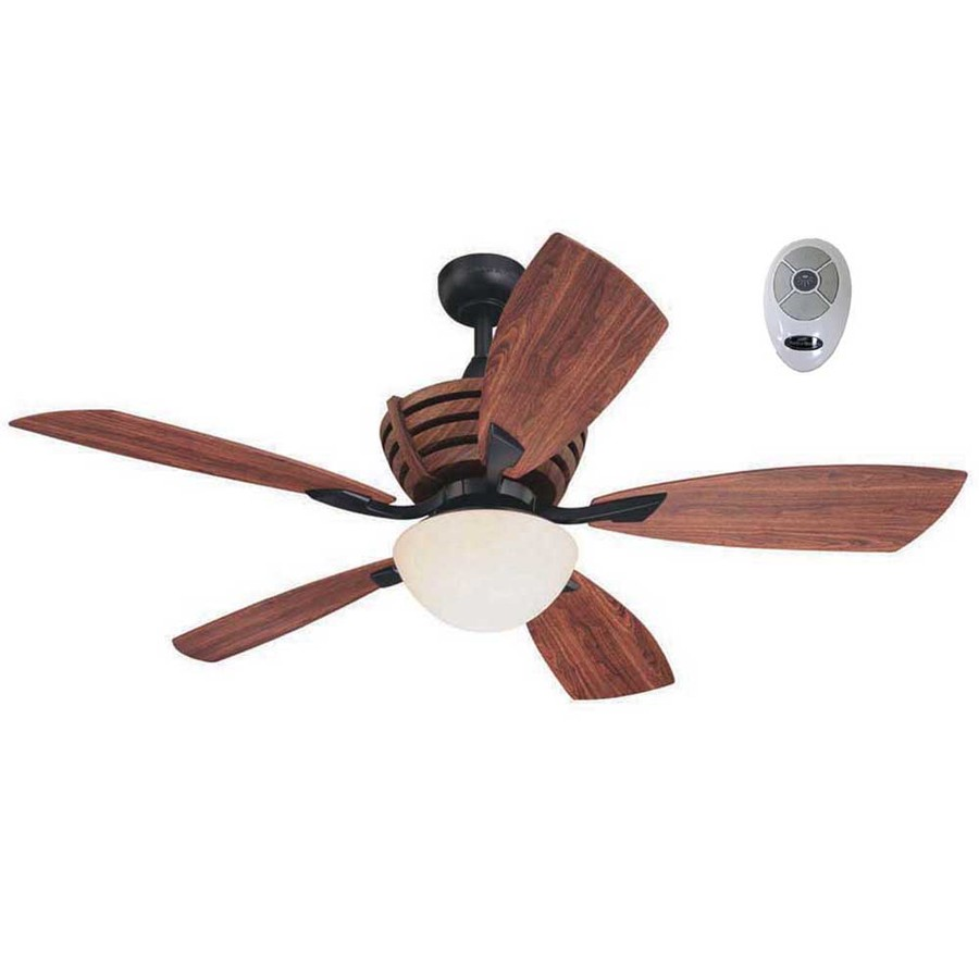 Harbor Breeze Teak 52 In Matte Black Outdoor Downrod Mount Ceiling Fan With Light Kit And Remote