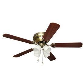 Shop Harbor Breeze Cheshire Ii 52 In Antique Brass Flush Mount Indoor Ceiling Fan With Light Kit