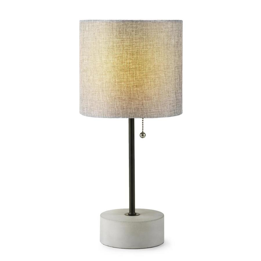 Allen Roth 16 5 In Bronze Concrete Table Lamp With Fabric Shade In The Table Lamps Department At Lowes Com