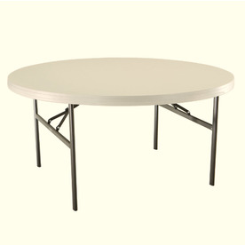 081483229713 Lifetime Products 60 In X Circle Steel Almond Folding Table