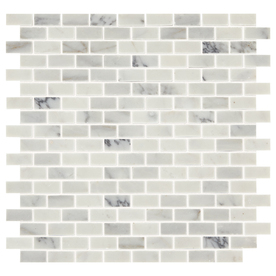 American Ocean Genuine Stone White Brick Marble Mosaic Backsplash Tile-5 Pieces