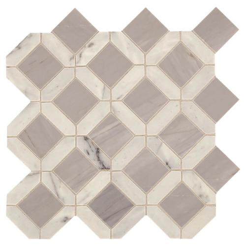 American Olean Genuine Stone White And Gray 12-in X 12-in