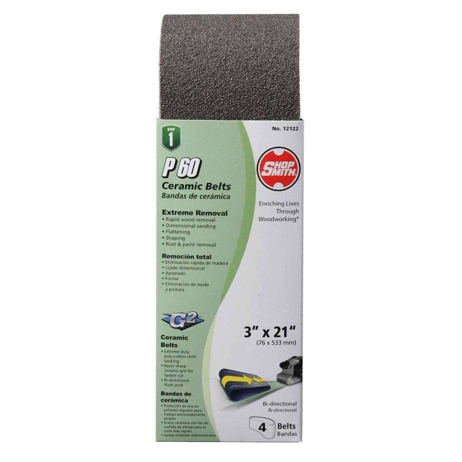 4-Pack 3-in W x 21-in L 60-Grit Commercial Sanding Belt Sandpaper | - Shopsmith 12122