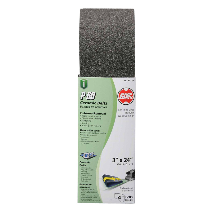 4-Pack 3-in W x 24-in L 60-Grit Commercial Sanding Belt Sandpaper | - Shopsmith 12132