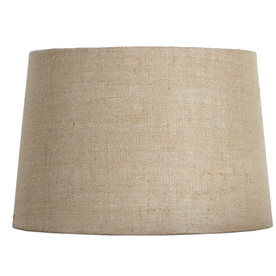 Display product reviews for 10-in x 15-in Tan Burlap Fabric Drum Lamp