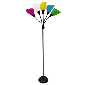Shop Style Selections 67 In 3 Way Switch Black Indoor Floor Lamp With Plastic Shade At Lowes Com