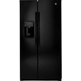Ge 25.4-Cu Ft Side-By-Side Refrigerator With Ice Maker Black Energy Star Gse25hghbb