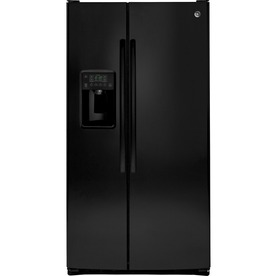 Ge 25.4-Cu Ft Side-By-Side Refrigerator With Ice Maker Black Gss25gghbb