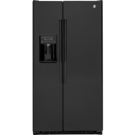 Ge 21.9-Cu Ft Counter-Depth Side-By-Side Refrigerator With Ice Maker Black Gzs22dgjbb