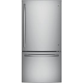Ge 24.9-Cu Ft Bottom-Freezer Refrigerator With Ice Maker Stainless Steel Energy Star Gde25eskss