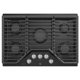GE Profile 30-in 5-Burner Black Gas Cooktop  30-in PGP7030DLBB