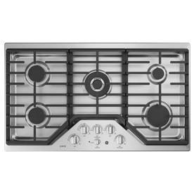 GE Cafe 36-in 5-Burner Stainless Steel Gas Cooktop  36-in CGP9536SLSS