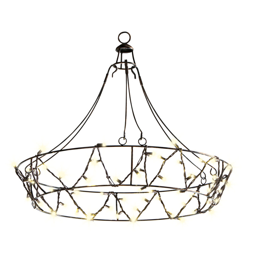 Outdoor Patio String Lights Lowes: Shop Gemmy 10.5-ft Black Indoor/Outdoor Plug-In Chandelier