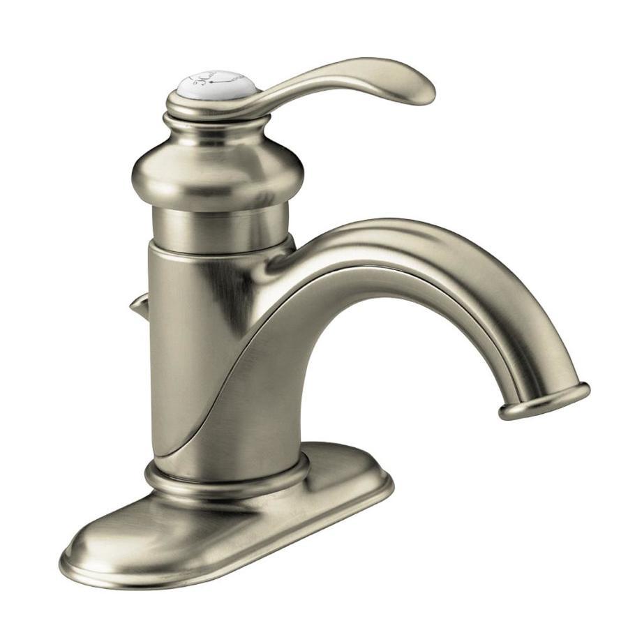 Shop kohler fairfax vibrant brushed nickel 1 handle 4 in - Brushed nickel bathroom sink faucet ...