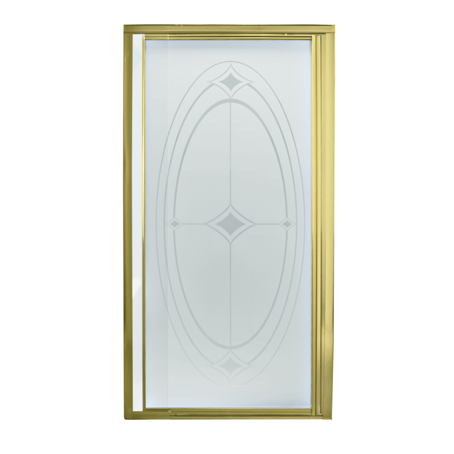 Shop Sterling Polished Brass Framed Pivot Shower Door At