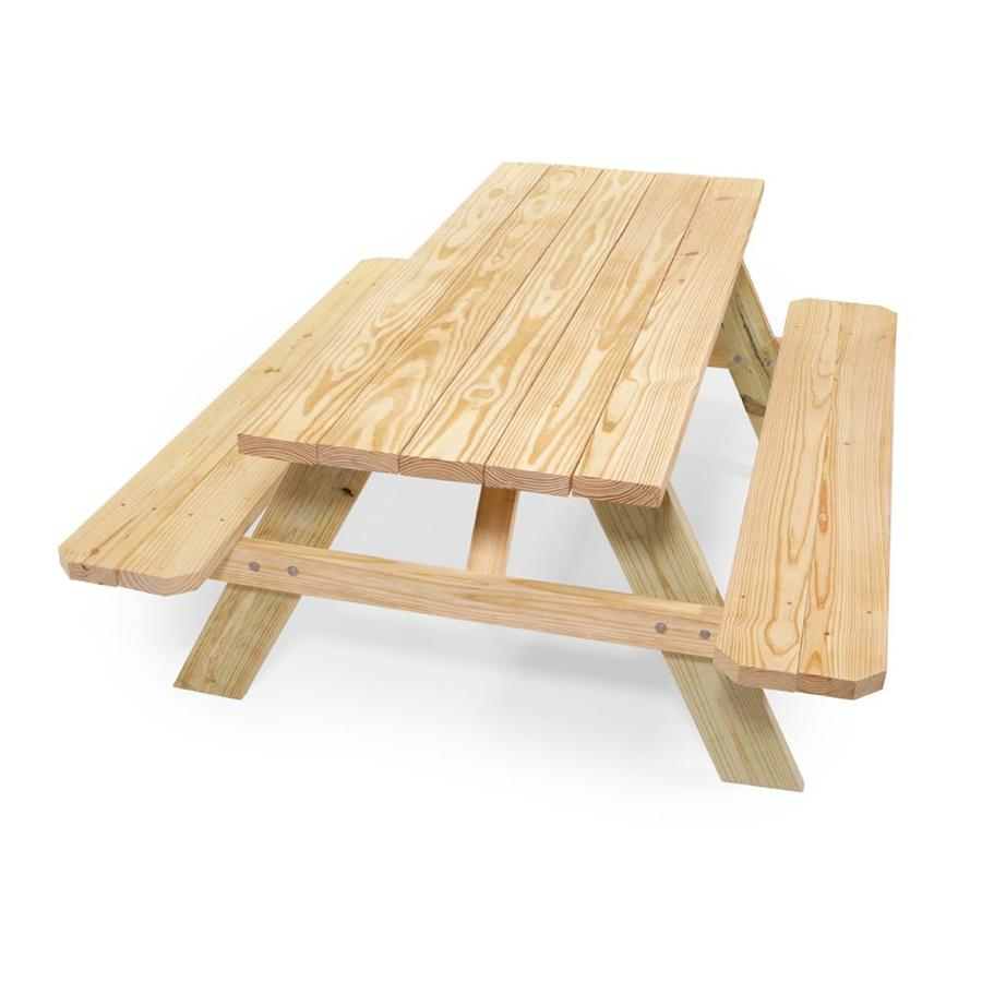 72 In Brown Southern Yellow Pine Rectangle Picnic Table In The Picnic Tables Department At Lowes Com