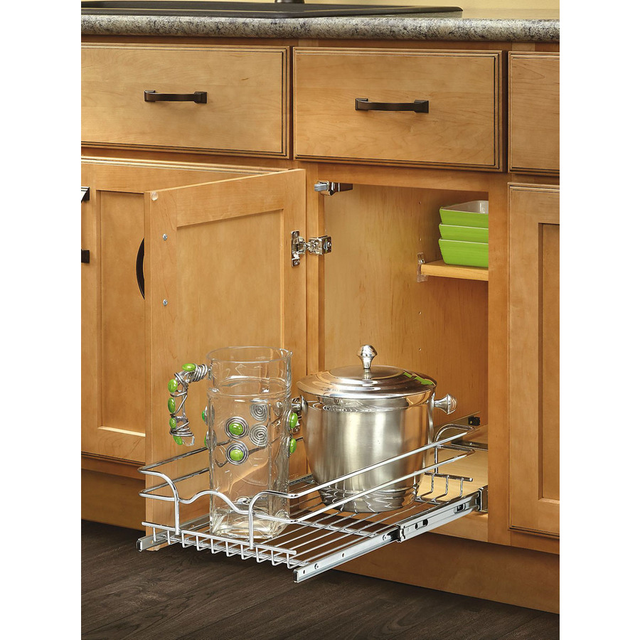Kitchen Cabinet Baskets: Shop Rev-A-Shelf 8.5-in W X 18-in D X 6-in H 1-Tier Metal