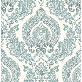 Display Product Reviews For 30 Sq Ft Blue Vinyl Damask Peel And Stick Wallpaper