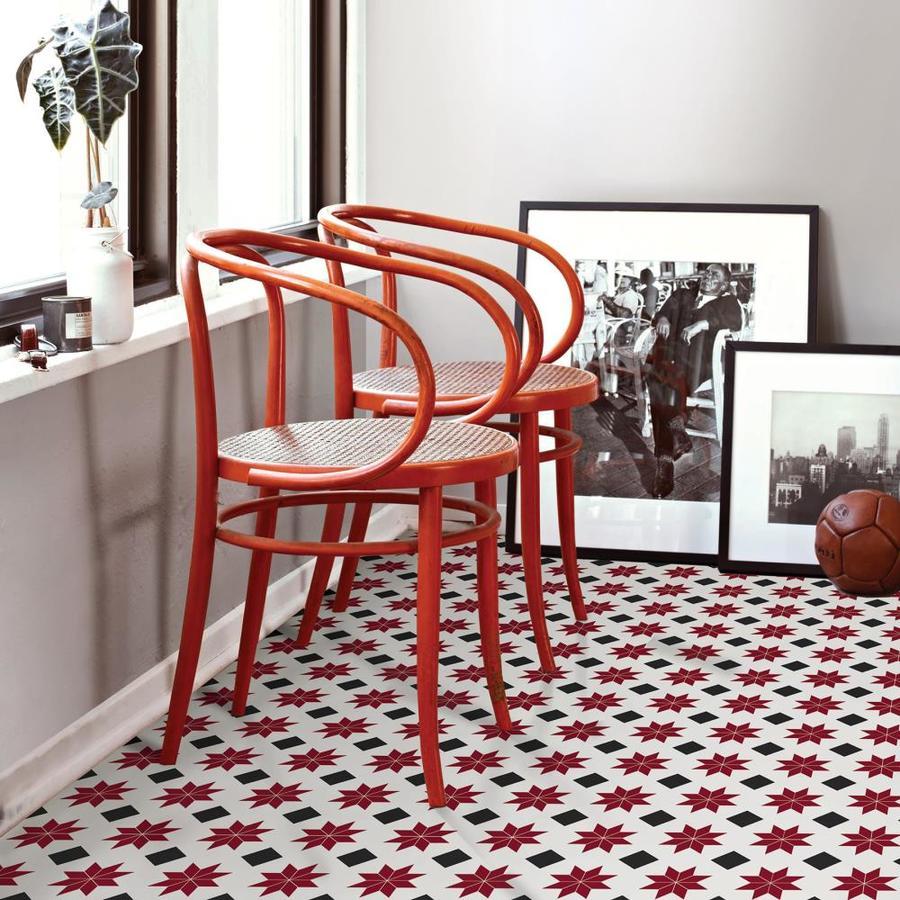 Floorpops 20 Piece 12 In X 12 In Red Peel And Stick Vinyl Tile In