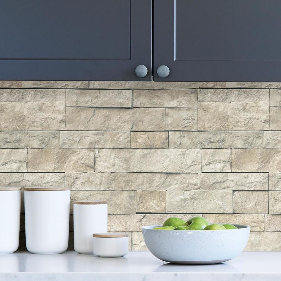 Nuwallpaper 30 75 Sq Ft Beige Vinyl Brick Self Adhesive Peel And Stick Wallpaper In The Wallpaper Department At Lowes Com
