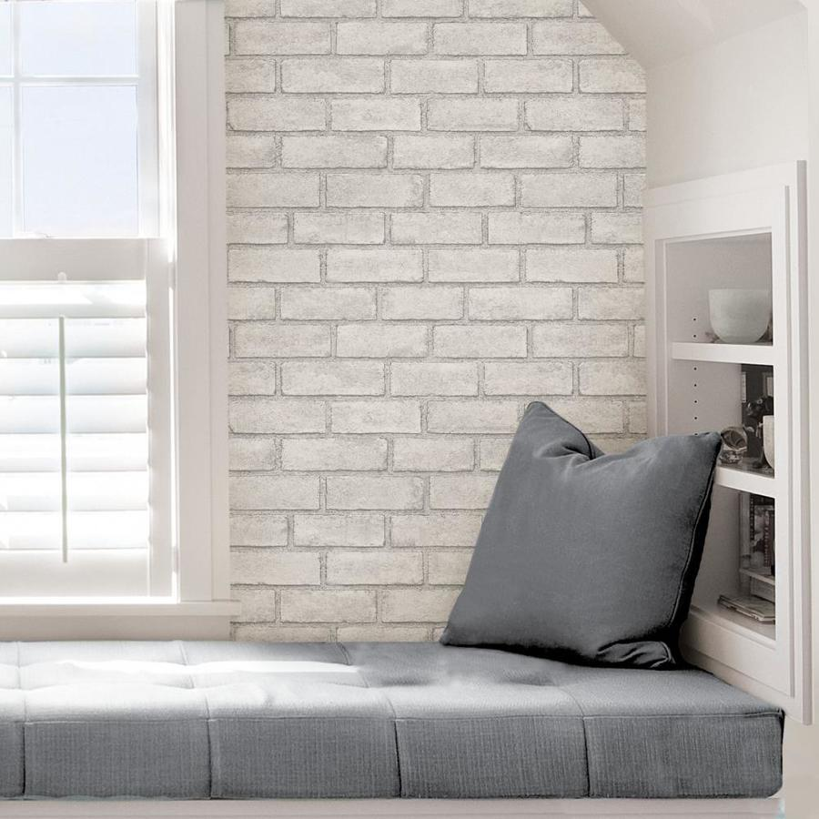 Scott Living 30 75 Sq Ft White Vinyl Textured Brick 3d Self Adhesive Peel And Stick Wallpaper In The Wallpaper Department At Lowes Com