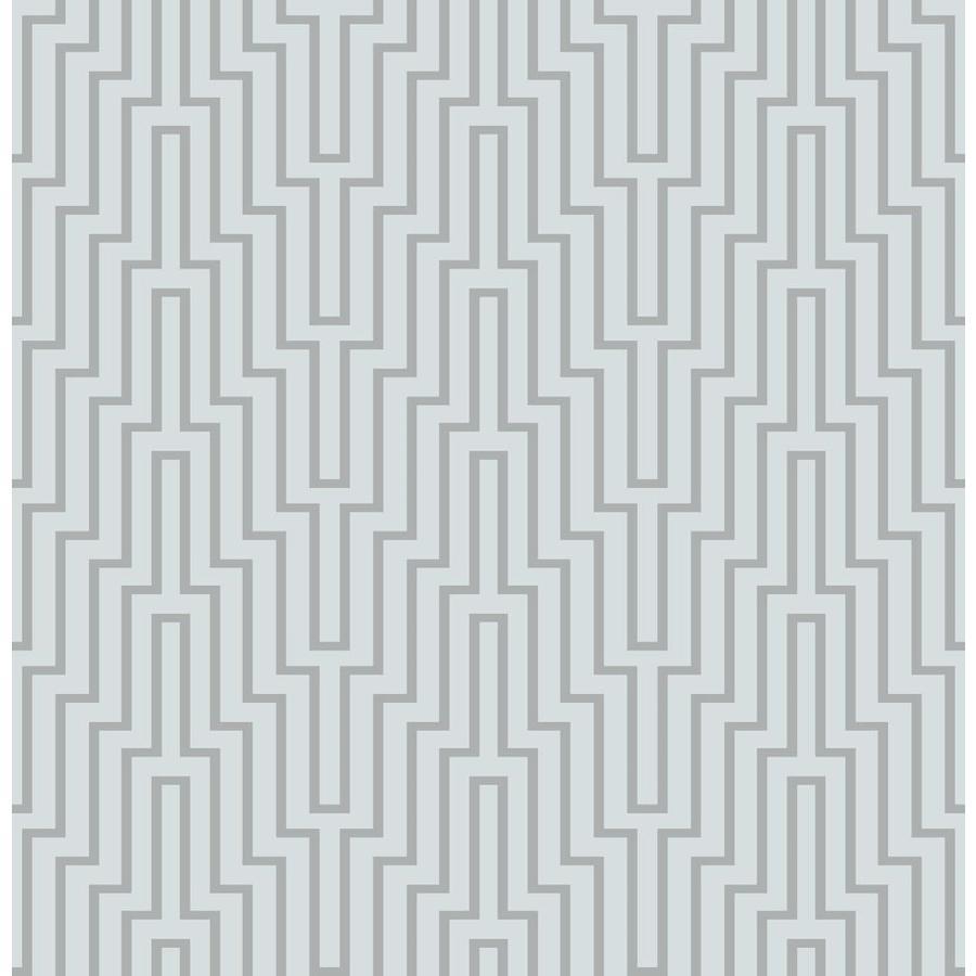 Scott Living 30 75 Sq Ft Sky Blue Vinyl Geometric Self Adhesive Peel And Stick Wallpaper In Gray Sls3516 Shefinds