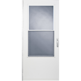 LARSON White Mid-View Storm Door With Self-Storing (Commo...