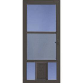 LARSON Brown Mid-View Storm Door With Pet Door (Common: 3...