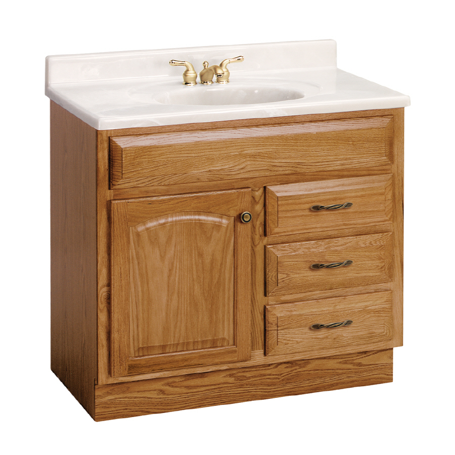 "bathroom vanities sample at lowes | Shop Project Source 36"" Oak Elegance Bath Vanity at Lowes.com"