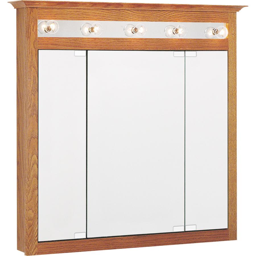 In X 36in Oak Lighted Oak Surface Mount Medicine Cabinet