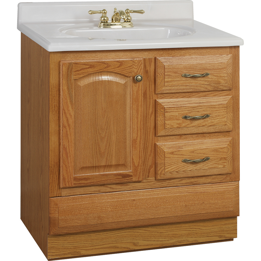 Project Source Oak Bathroom Vanity Common 30 In X 21 In Actual 30 In X 21 In In The Bathroom Vanities Without Tops Department At Lowes Com