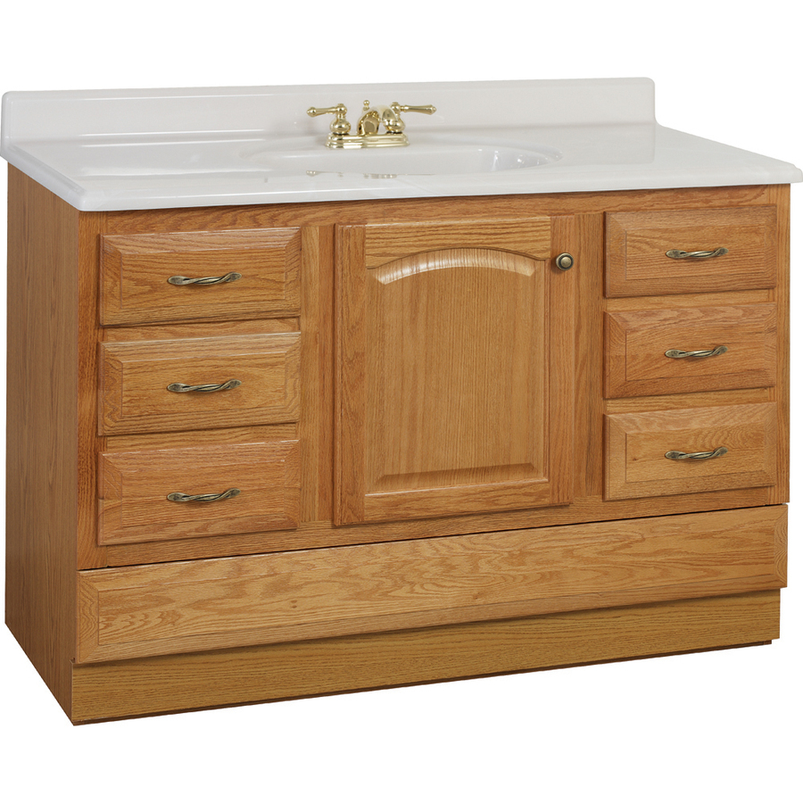 Project Source Oak Bathroom Vanity Common 48 In X 21 In Actual 48 In X 21 In In The Bathroom Vanities Without Tops Department At Lowes Com