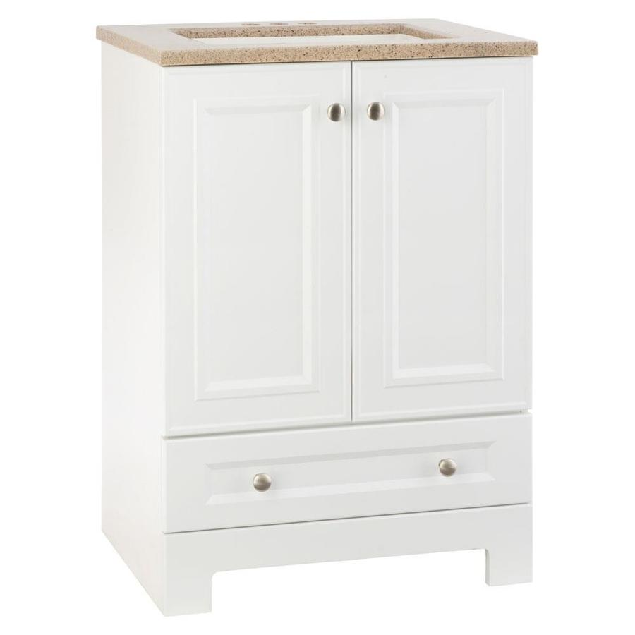 Lowes Bathroom Vanities White: Shop Style Selections Emberlin White Integral Single Sink