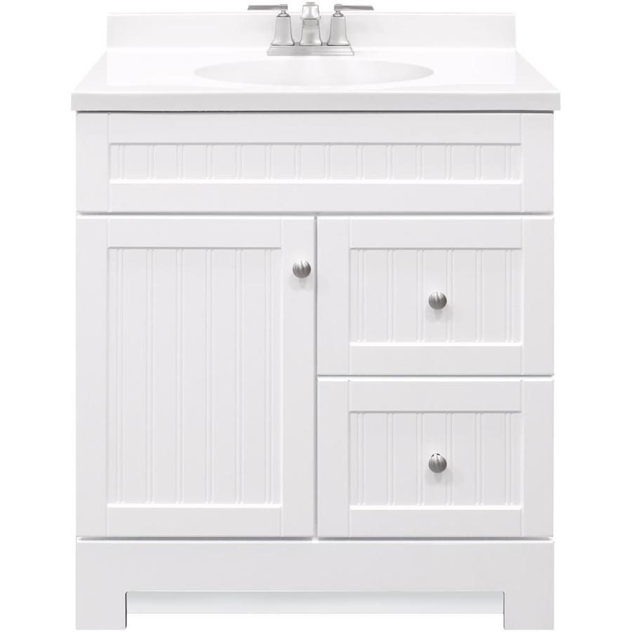 Style Selections Ellenbee 30 In White Single Sink Bathroom Vanity With White Cultured Marble Top In The Bathroom Vanities With Tops Department At Lowes Com