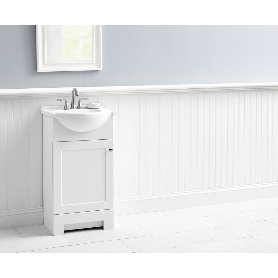 Style Selections Euro 18 In White Single Sink Bathroom Vanity With White Cultured Marble Top In The Bathroom Vanities With Tops Department At Lowes Com
