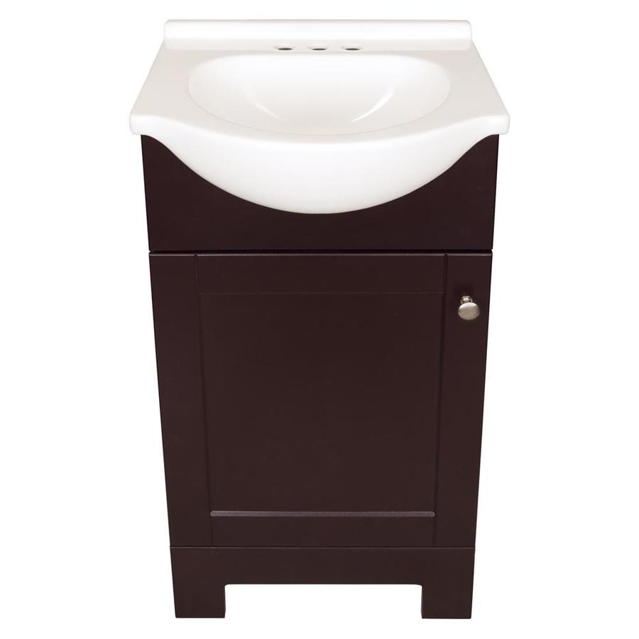Style Selections Euro 19 In Espresso Euro Sink Single Sink Bathroom Vanity With White Cultured Marble Top In The Bathroom Vanities With Tops Department At Lowes Com