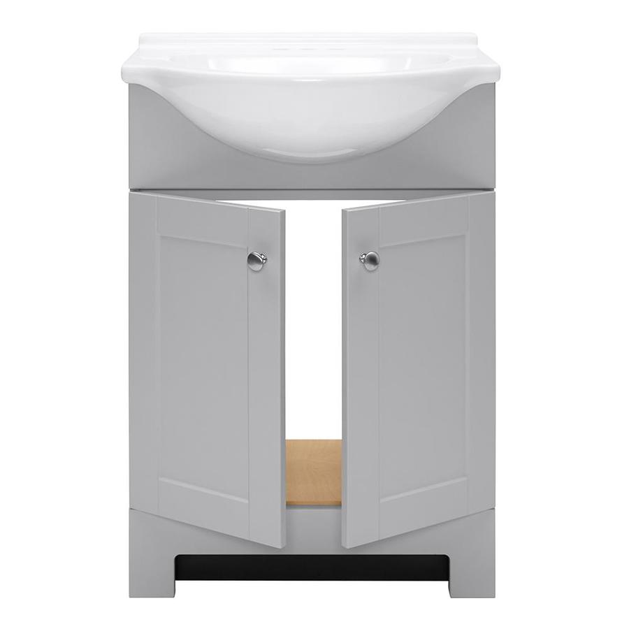 Style Selections Euro 24 In Gray Single Sink Bathroom Vanity With White Cultured Marble Top In The Bathroom Vanities With Tops Department At Lowes Com