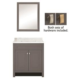 Display product reviews for 30.5-in Slate Single Sink Bathroom Vanity with White Arabescato Natural
