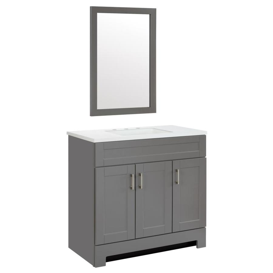 Style Selections 36 In Dark Gray Single Sink Bathroom Vanity With White Cultured Marble Top Mirror Included In The Bathroom Vanities With Tops Department At Lowes Com