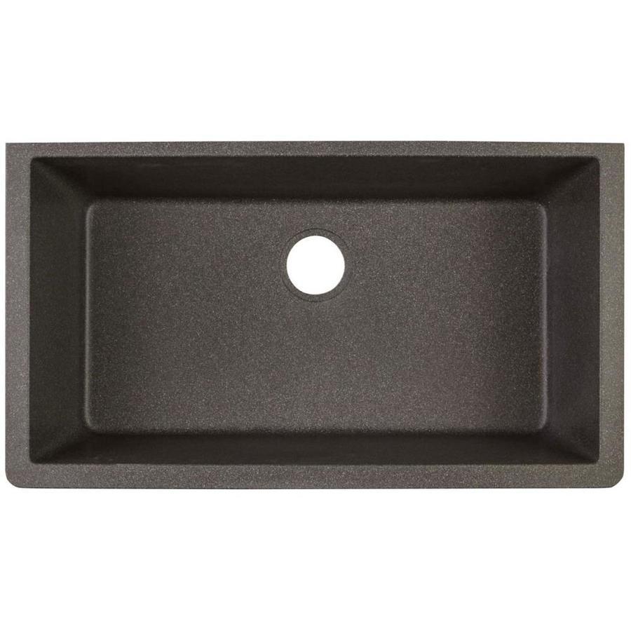 Elkay Quartz Classic 33-In X 18.4375-In Black Shale Single Bowl Undermount Residential Kitchen Sink Elgru13322bs0