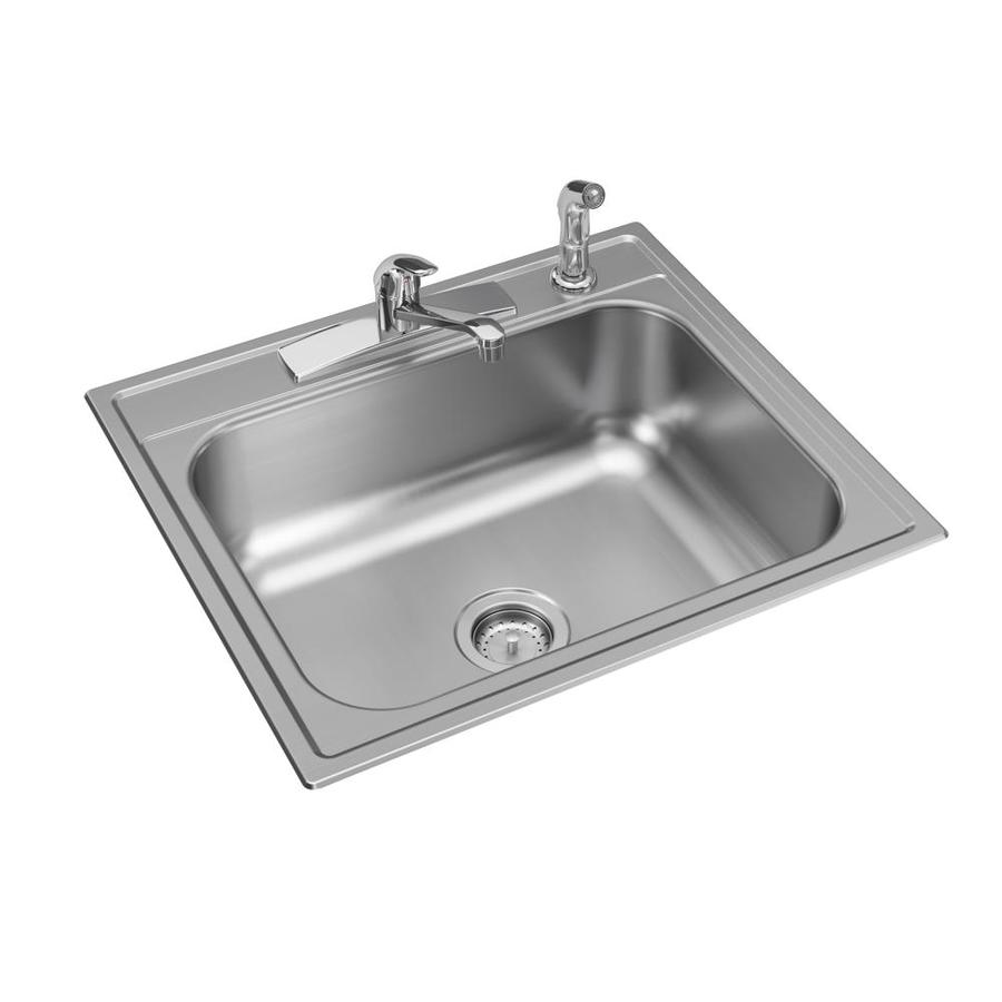 Elkay Drop In 25 In X 22 In Stainless Steel Single Bowl 4 Hole Kitchen Sink All In One Kit In The Kitchen Sinks Department At Lowes Com