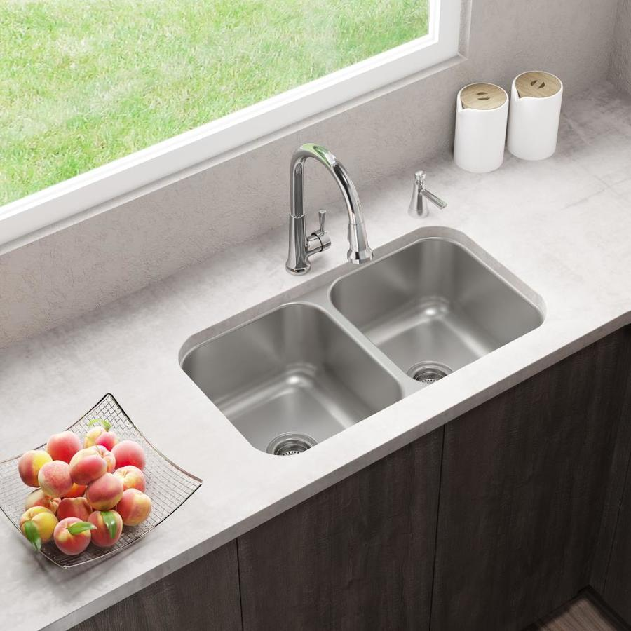 Elkay Dual Mount 33 In X 22 In Stainless Steel Double Equal Bowl 2 Hole Kitchen Sink In The Kitchen Sinks Department At Lowes Com