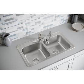 Elkay Dayton 33 In X 19 In Elite Satin Double Equal Bowl Drop In 4 Hole Residential Kitchen Sink In The Kitchen Sinks Department At Lowes Com