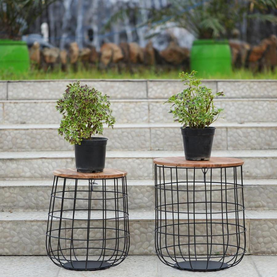 Allen Roth 18 In Black Outdoor Round Steel Plant Stand In The Plant Stands Department At Lowes Com
