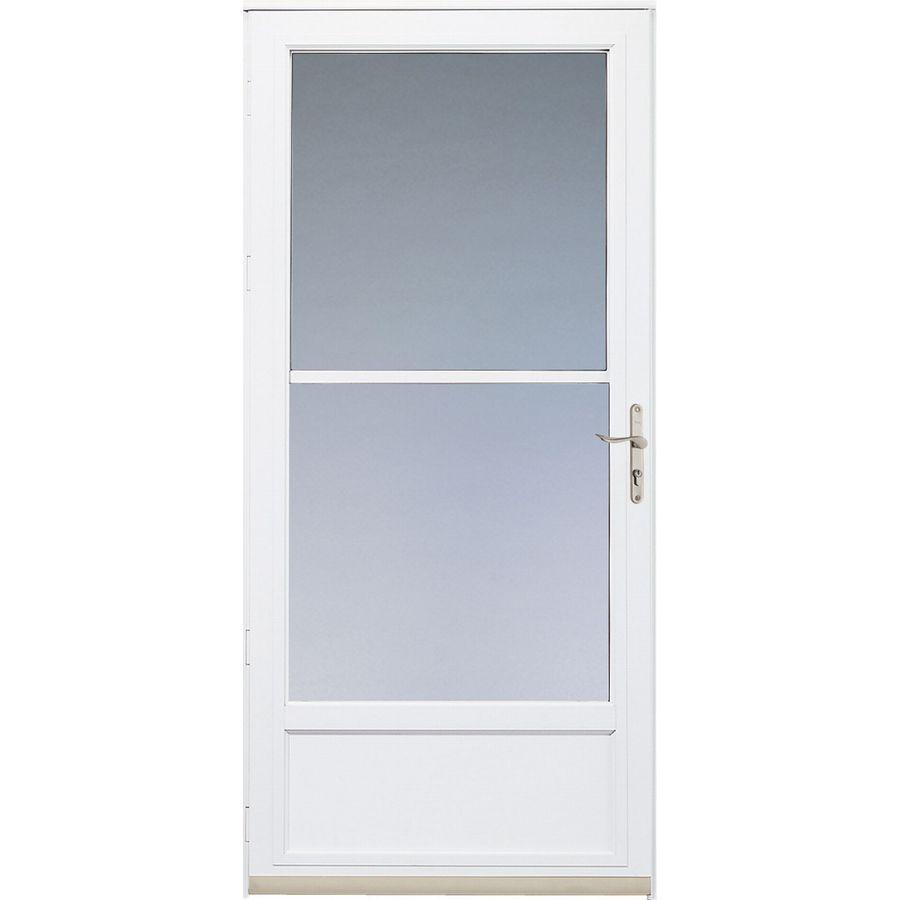Shop Pella White Hartford Mid-View Safety Storm Door At
