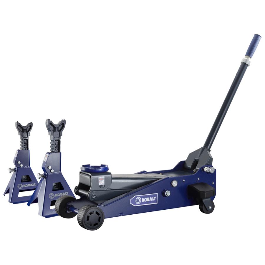 Shop Kobalt 3 Ton Garage Jack And Jack Stands With Laser