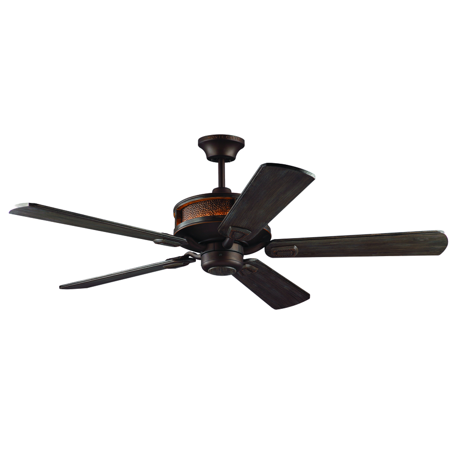 Monte Carlo Fan Company Artizan 56 in Walnut Downrod Mount Indoor/Outdoor Ceiling Fan with LED Light Kit Adaptable Remote (5 Blade)