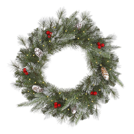 Christmas Central 36-in Pre-Lit Plug-In Pine Artificial Christmas Wreath with White Clear Incandescent Lights 12768691